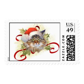 Sellos del navidad del gato de Coon de Maine