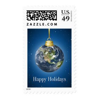 Sellos del navidad del globo de la tierra
