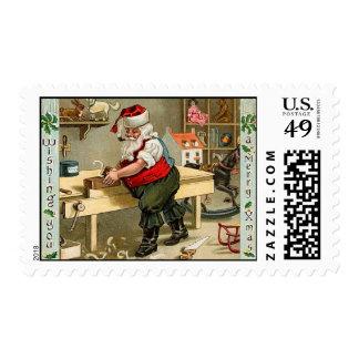 Sellos del navidad del vintage del taller de Santa