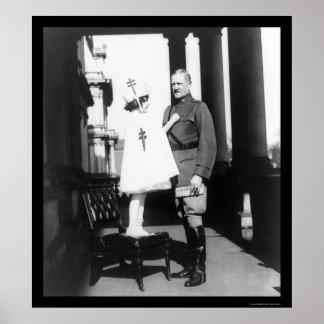 Sellos del navidad para general Pershing 1921 Póster
