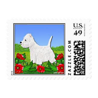 Sellos del perro - franqueo de Terrier blanco de