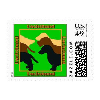 Sellos del perro Sello de tres Dachsuhunds