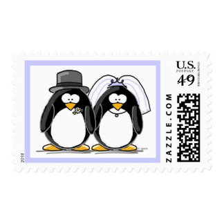 Sellos del pingüino de novia y del novio