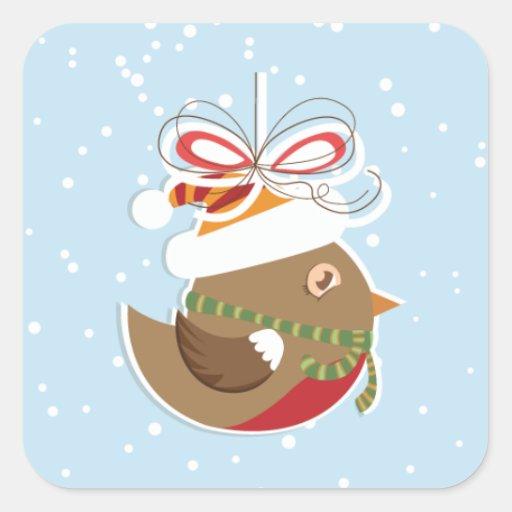 Sellos del regalo de vacaciones de invierno del pegatina cuadrada