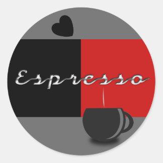 Sellos del regalo y del sobre del café express pegatina redonda