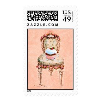 Sellos del rosa de la silla del Victorian de la ma