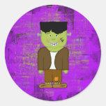 Sellos del sobre de Frankenstein Halloween Pegatina Redonda