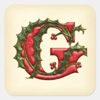 Sellos del sobre de G del monograma del acebo del Pegatina Cuadrada