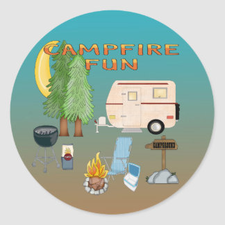 Sellos del sobre de la diversión que acampan pegatina redonda