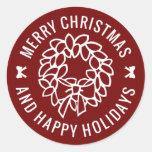 Sellos del sobre de la guirnalda del navidad de pegatinas redondas