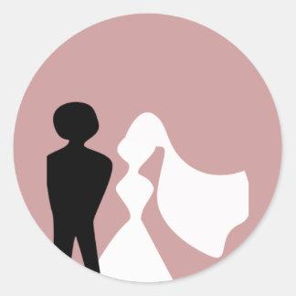 Sellos del sobre de la silueta de novia y del pegatina redonda