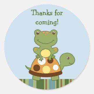 Sellos del sobre de la tortuga de la rana de los pegatinas redondas