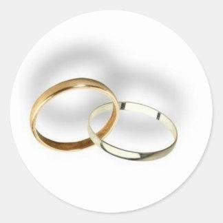 Sellos del sobre de los anillos de bodas… pegatina redonda