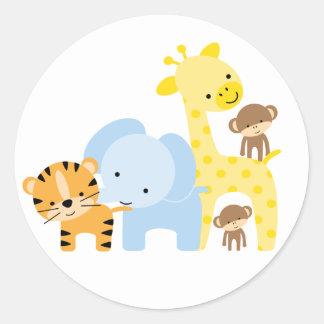 Sellos del sobre de los animales de la selva pegatina redonda