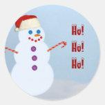 Sellos del sobre de Santa del muñeco de nieve Etiqueta Redonda