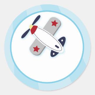 Sellos del sobre del aeroplano del pegatina redonda