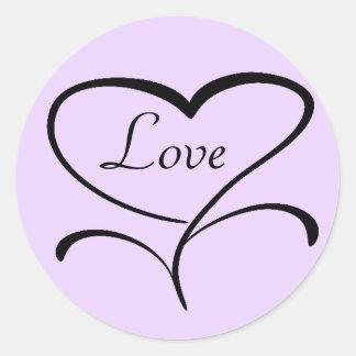 Sellos del sobre del amor pegatina redonda