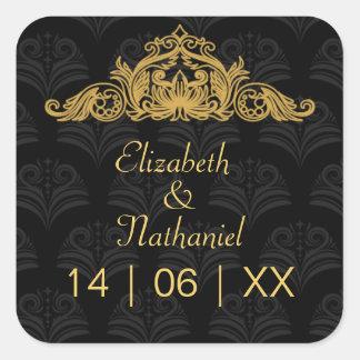 Sellos del sobre del boda de Cantorbery Royale Pegatina Cuadrada