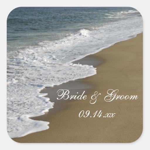 Sellos del sobre del boda de playa calcomania cuadradas