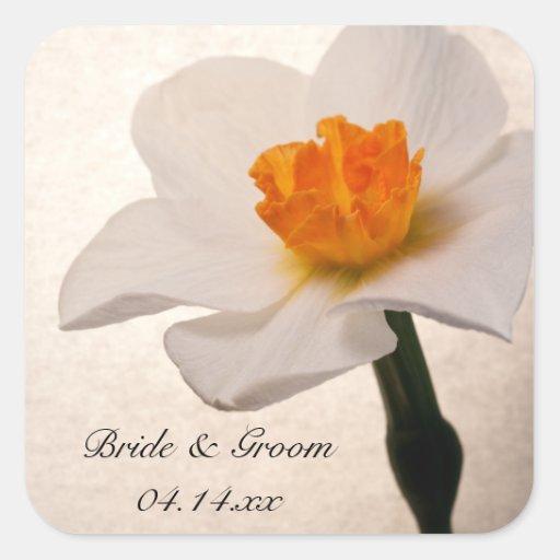 Sellos del sobre del boda del narciso de la calcomanía cuadrada personalizada