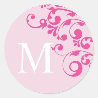 Sellos del sobre del boda del rosa del monograma pegatina redonda