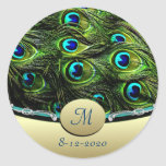 Sellos del sobre del boda del tema del pavo real etiquetas redondas