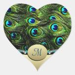 Sellos del sobre del boda del tema del pavo real calcomanía corazón personalizadas