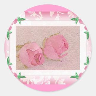 Sellos del sobre del capullo de rosa pegatina redonda
