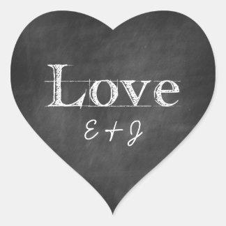 Sellos del sobre del corazón del monograma del pegatina en forma de corazón