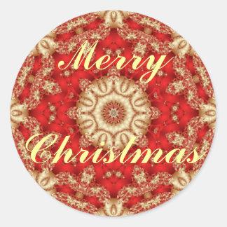 Sellos del sobre del cordón de las Felices Navidad Pegatina Redonda