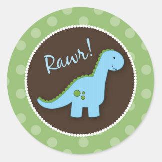 Sellos del sobre del dinosaurio, favores de la etiqueta redonda