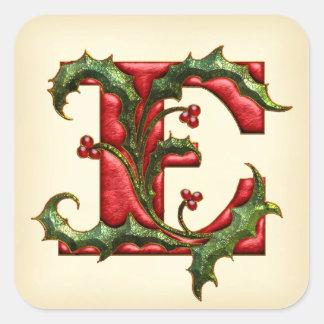 Sellos del sobre del monograma E del acebo del Pegatina Cuadrada
