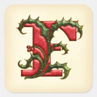 Sellos del sobre del monograma F del acebo del Pegatina Cuadrada