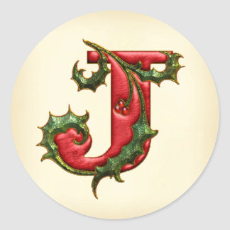 Sellos del sobre del monograma J del acebo del Pegatina Redonda