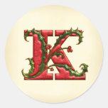 Sellos del sobre del monograma K del acebo del Etiqueta Redonda