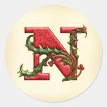 Sellos del sobre del monograma N del acebo del Etiquetas Redondas