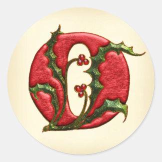 Sellos del sobre del monograma O del acebo del Pegatina Redonda