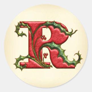 Sellos del sobre del monograma R del acebo del Pegatina Redonda