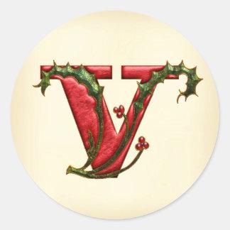 Sellos del sobre del monograma V del acebo del Pegatina Redonda