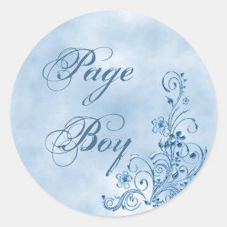 Sellos del sobre del muchacho de la página: pegatina redonda
