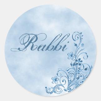 Sellos del sobre del rabino: Elegancia del azul de Pegatina Redonda