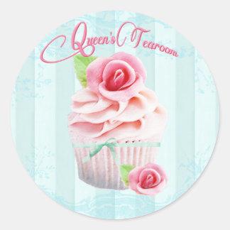 Sellos del sobre o del regalo del rosa de té rosad pegatina redonda