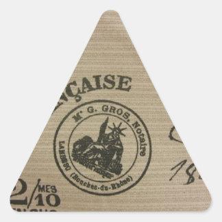 Sellos del viaje del francés pegatina triangular