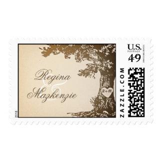sellos del vintage del árbol del boda