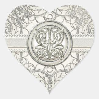 Sellos elegantes del boda de la mirada del corazón pegatina en forma de corazón