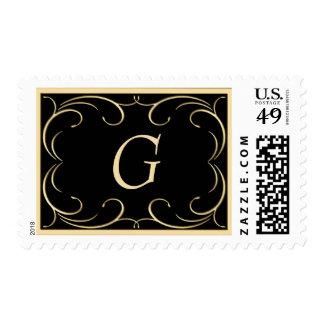 Sellos elegantes del monograma del negro y del oro