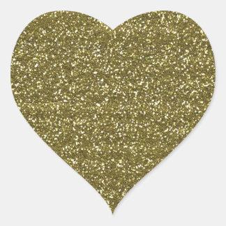 Sellos en blanco elegantes del brillo del oro pegatina en forma de corazón