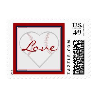 Sellos en forma de corazón del amor del béisbol