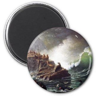 Sellos en las rocas, islas de Farallon - Bierstadt Imán Redondo 5 Cm