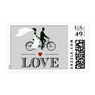 Sellos en tándem del amor del boda de la bicicleta